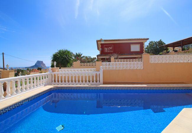 Villa en Calpe - Tranquila villa Galicia con piscina, a/c, parking, vistas al mar,