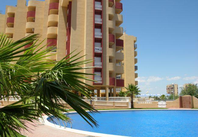 Appartement in La Manga del Mar Menor - Apart. familie 5e verdieping, uitzicht op zee, balkon, gemeenschappelijk zwembad, peddel